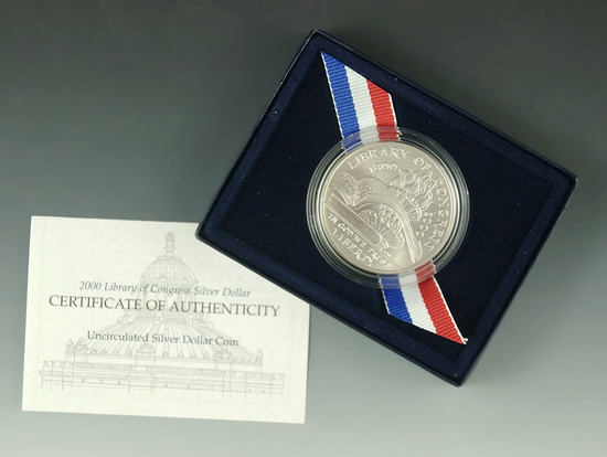 2000-P Library of Congress Uncirculated Commemorative Silver Dollar in Original Box with COA