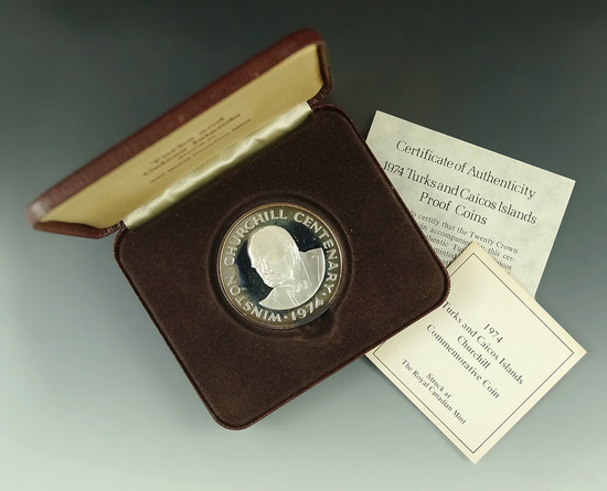 1974 Turks and Caicos Islands Proof Winston Churchill 20 Crown in Original Box with COA