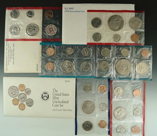 1972, 1978 and 1992 mint Sets in Original Envelopes