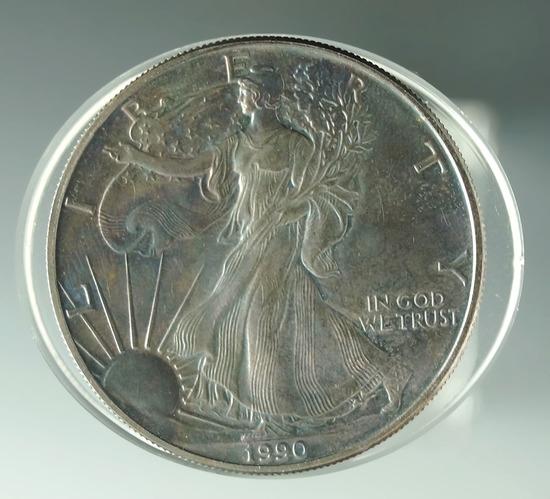 1990 American Silver Eagle BU Heavy Toning