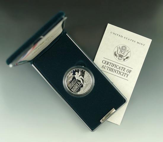 1991-P Korean War Memorial Proof Commemorative Silver Dollar in Original Box with COA