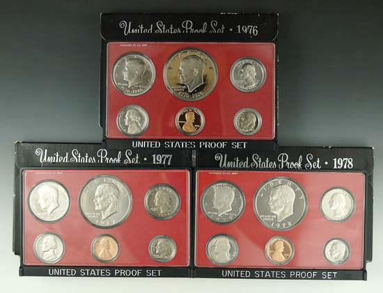 1976, 1977 and 1978 Proof Sets in Original Boxes