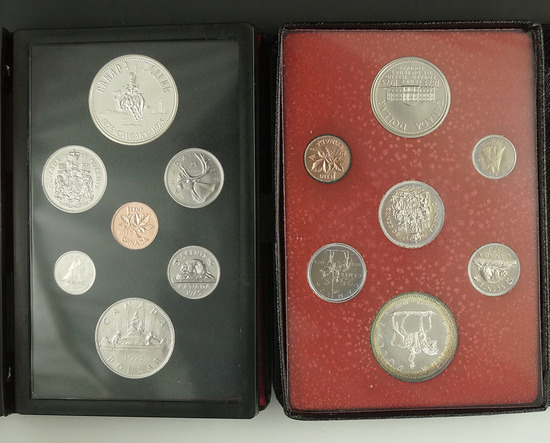 1973 and 1975 Canadian Double Dollar Sets in Original Holders