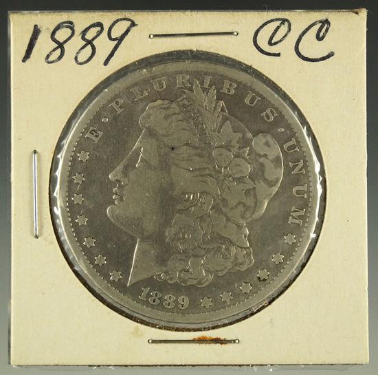 Rare 1889-CC Morgan Silver Dollar F Details