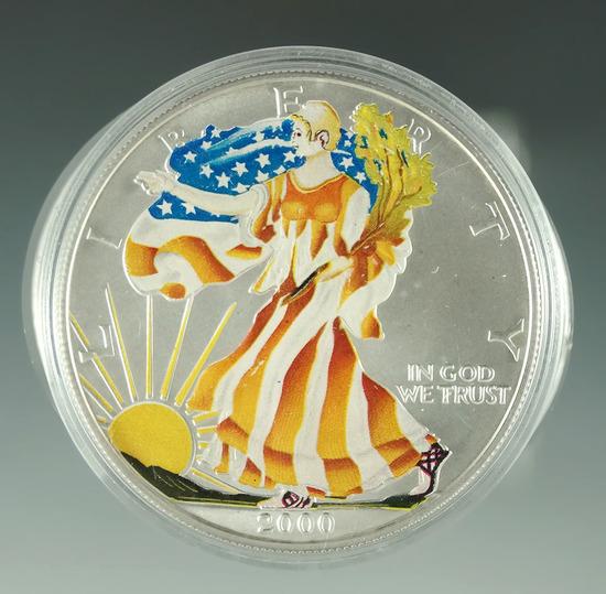 2000 Colorized American Silver Eagle BU