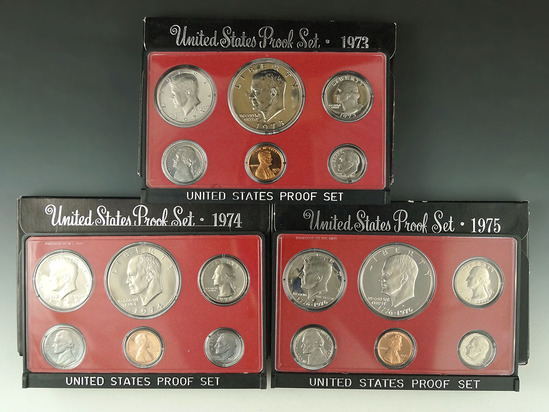 1973, 1974 and 1975 Proof Sets in Original Boxes
