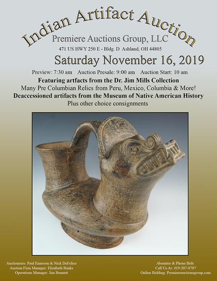 Museum Indian Artifact Auction!  Premiere Auctions