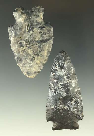 """Pair of Coshocton Flint arrowheads found in Ohio, largest is 2 1/2"""". Ex. Dr. Jim Mills collection."""