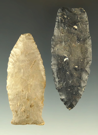 "Pair of Paleo points found in Ohio, largest is 2 5/8"". Ex. Dr. Jim Mills."