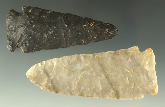 "Pair of Meadowood Knives found in Ohio, largest is 3"". Ex. Dr. Jim Mills."