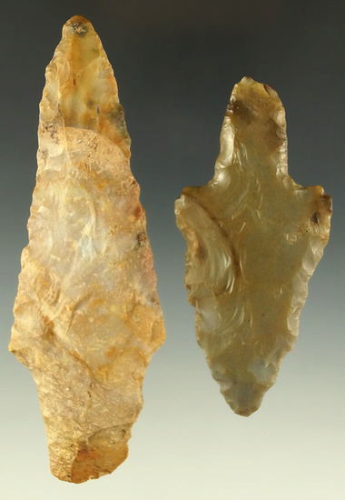 "Pair of Adena points found in southern Ohio, largest is 4 3/16"" and is made from Boyles chert."