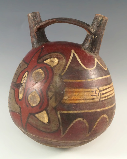 "Ex. Museum! 6 1/2"" by 5 1/4"" Nasca stirrup vessel with jaguars painted on the exterior. Peru. COA."