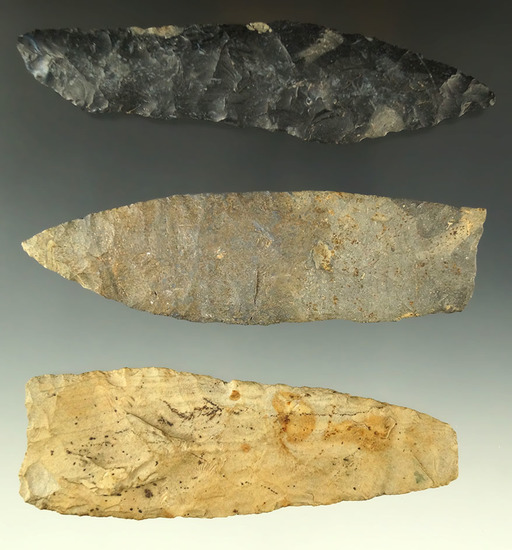"Set of three Paleo Knives, largest is 4 5/8"" one is a chisel tip which was pictured. Ex. Dr. Jim Mil"