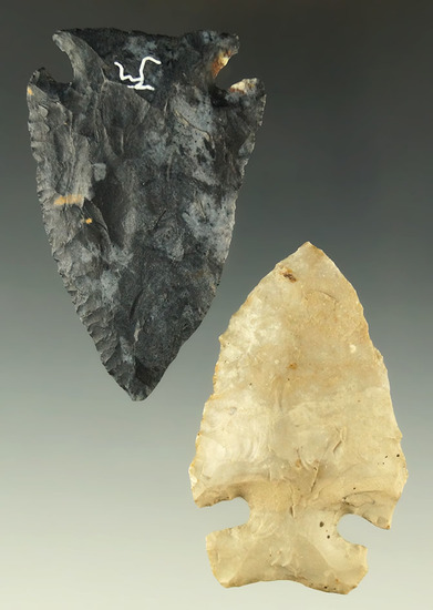 "Pair of Archaic Cornernotch points found in Ohio, largest is 2 9/16"". Ex. Dr. Jim Mills."