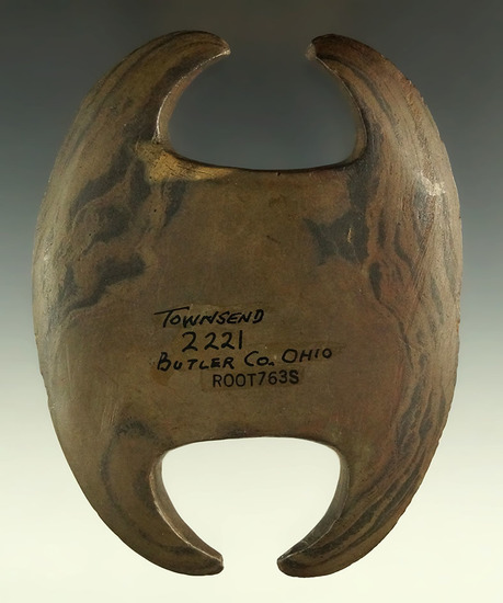 "Ex. Townsend - pictured! 5"" x 3 7/8"" Archaic Notched Ovate - restoration to two prongs, Ohio."