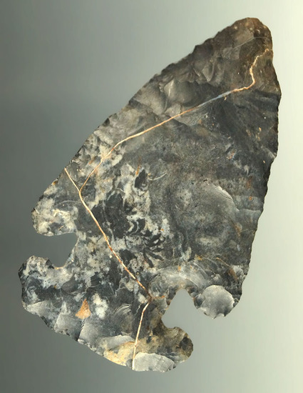 """2 13/16"""" Archaic Thebes E-Notch Bevel found in Ross Co., Ohio. Ex. Dr. Stanley Copeland."""