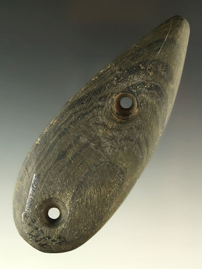 "4 3/4"" Tallied Glacial Kame Teardrop Gorget, found in Van Wert Co., Ohio. Ex. Fredit, Weaver."