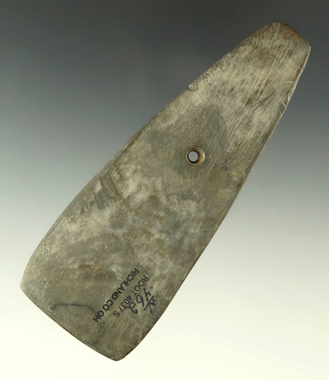 "Thin 4 13/16"" Hopewell Trapezoidal Pendant found in Richland Co., Ohio. Ex. Currie, Marvin Gilley."