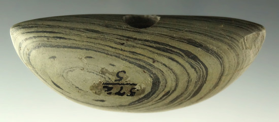 "Ex. Meuser - pictured! 3 5/8"" Pick Bannerstone found in Brush Creek Twp., Highland Co., Ohio."