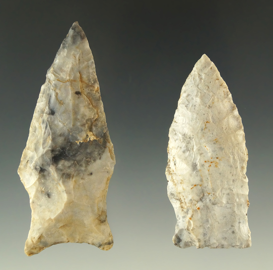 """Ex. Museum! Pair of Rice Sidenotch points found in Missouri, largest is 2 3/4""""."""
