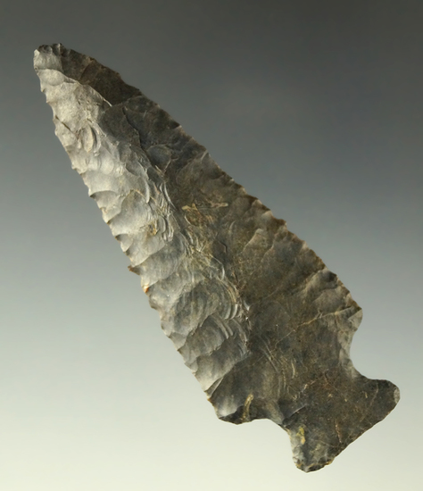 """3 1/4"""" Coshocton Flint Fishspear found in Coshocton County Ohio. Comes with a Bennett COA."""