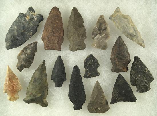 """Set of 15 assorted arrowheads from the Midwest and Eastern seaboard, largest is 2""""."""