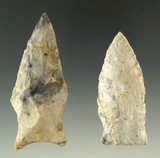 Ex. Museum! Pair of Rice Sidenotch points found in Missouri, largest is 2 3/4