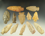 Set of 12 assorted Midwestern arrowheads, largest is 3 1/4