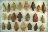 Set of 22 assorted Midwestern arrowheads, largest is 2 1/4