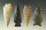 Set of four assorted Ohio arrowheads, largest is 2 1/4