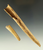 Ex. Museum! Pair of antler Tip artifacts including a conical projectile point and  knapping tool.