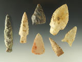 Set of seven assorted arrowheads from various locations, largest is 2 1/2