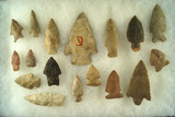 Set of 17 assorted arrowheads in various locations, largest is 3 3/8