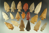 Group of 19 assorted arrowheads from various locations, largest is 2 3/4