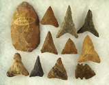 Set of 11 assorted arrowheads found in the southern U.S., largest is 2 3/4