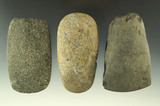 Set of three stone Celts in nice condition. Found in Michigan, collection of Phil Wagle.