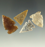 Set of four arrowheads found in South Dakota, three are knife River Flint. Largest is 1 1/16