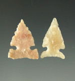 Ex. Museum!  Pair of Caracara sidenotch points found in Texas,  Ex. Charles Shewey collection.