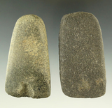 Very nice pair of stone Celts. Found in Michigan, from the collection of Phil Wagle.
