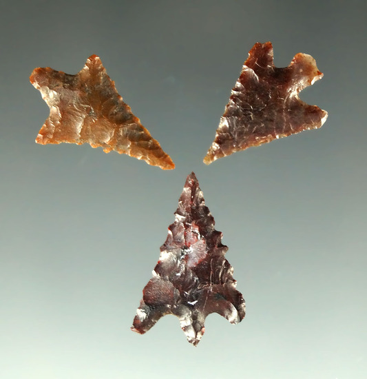 "Set of three Columbia River Gempoints found in Oregon, largest is 13/16""."