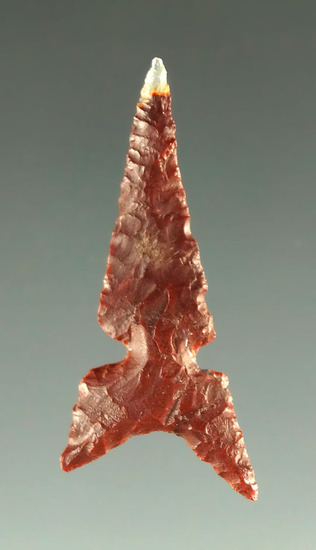 "1 1/8"" Awatovi Sidenotch point made from maroon and clear agate found in Mesa Co. Colorado."