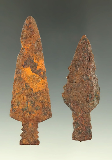 """Pair of steel trade points found in Kansas, largest is 2 11/16""""."""