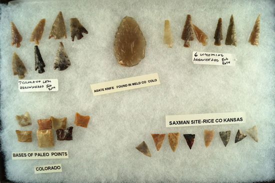 Group of assorted Arrowheads, Knives and Paleo bases - Wyoming, Kansas and Colorado.