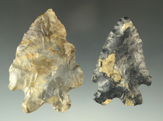 "Pair of MacCorkle Bifurcates found in Ohio made from Coshocton Flint. Largest is 2 1/2""."