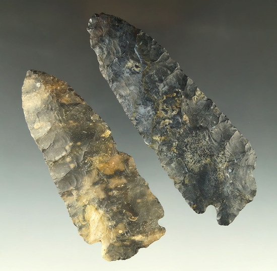 "Pair of larger Ohio Coshocton Flint Knives, largest is 4 1/2""."