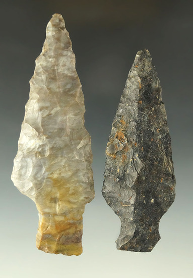 "Pair of Ashtabula points made from Upper Mercer Flint found in Ohio, largest is 4""."