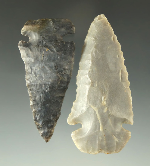 Pair of Dovetails found in Ohio, one is Coshocton, the other is Flint Ridge Flint. Largest is 2 1/2""
