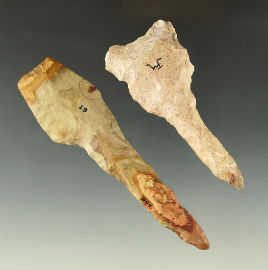"Pair of Flint Drills found in Ohio, largest is 4 3/16""."