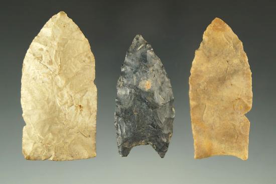 "Set of three Paleo Lanceolates found in Ohio, largest is 2 1/4""."