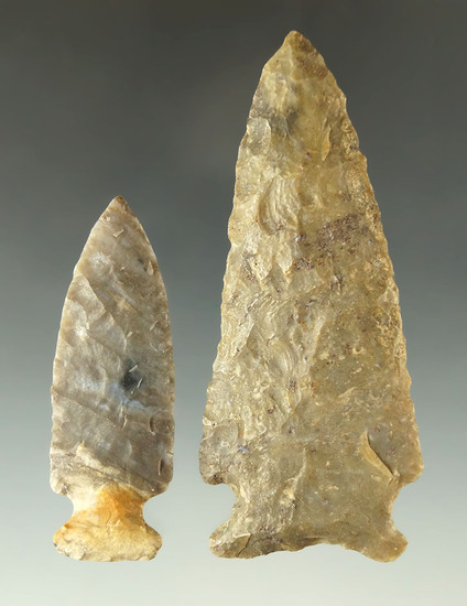"Pair of nice Ohio flaked artifacts including a 3 5/16"" Knife  in the 2 3/16"" Dartpoint."